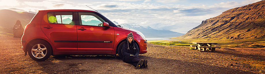 Me with my Suzuki Swift, Iceland, 2015